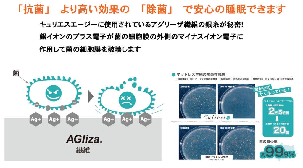 キュリエス・エージー アグリーザ 銀 銀糸 抗菌 除菌 強い フランスベッド マットレス Ag-MH-055